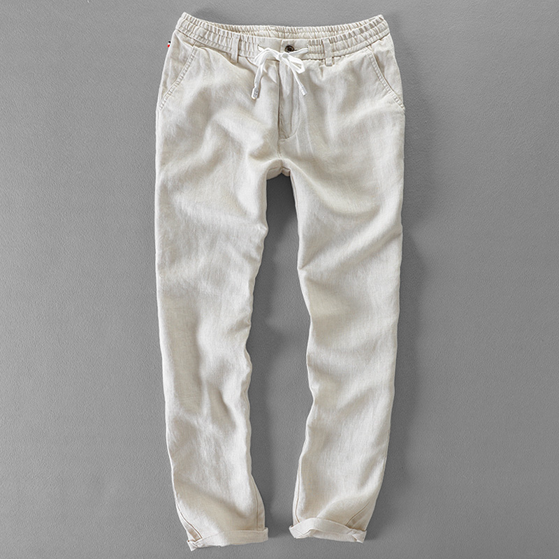 New Long Brand Men Pants Linen Casual Fashion Men Trousers Elastic Loose Pants Mens Flax Big Trousers Mens Pantalon 30-40 Size