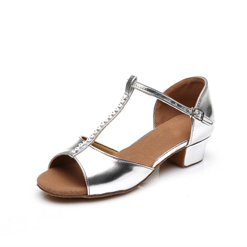 Silver PU Latin Dance Shoes Girls Woman Salsa Ballroom Dancing Shoes Zapatos De Baile Latino Mujer Free Shipping