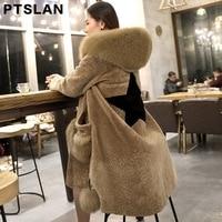 Ptslan New 2017 Winter Women Coat Sheep fur Long coat Fox Fur Collar Brand Design Quality Hoody Clothes Big Pocket P3064