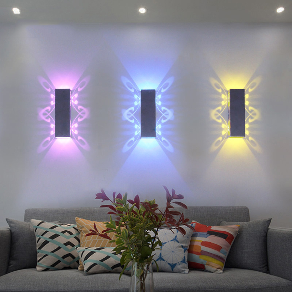 Beautiful LED Wall Lamp 20*6*6CM 110V 220V wall light fixture 2 Butterfly bedroom light LED for home Foyer decoration IL