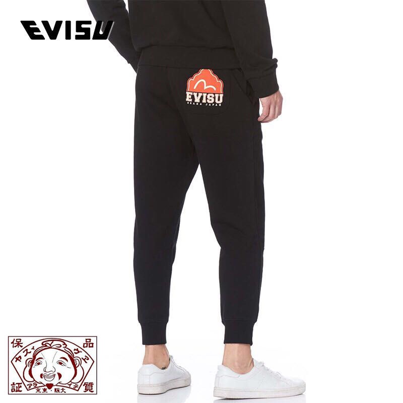 Evisu New Shelves 91 Letters Men's Wild Casual Pants Plus Velvet Warm Breathable Sweatpants Men's Casual Pants Trousers F089