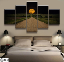 Hot Sales Without Frame 5 Panels Picture Super Moonlight Highway Scenery Painting Artwork Wall Art Canvas Wholesale