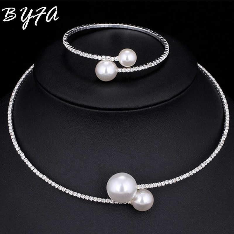 Bride Weeding Summer Rhineston Imitation Pearl Crystal Chain Circle Necklace Choker Bangle Jewelry Set Gift for Women Girl