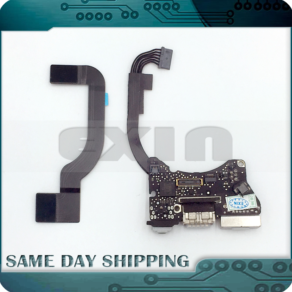 Genuine A1465 I/O USB Audio Board Power DC Jack + Cable 821-1721-A for MacBook Air 11 A1465 820-3453-A 923-0430 2013 2014 2015 for macbook air usb i o audio board 820 3213 a 11 laptop a1465 power dc jack md223 md224 2012
