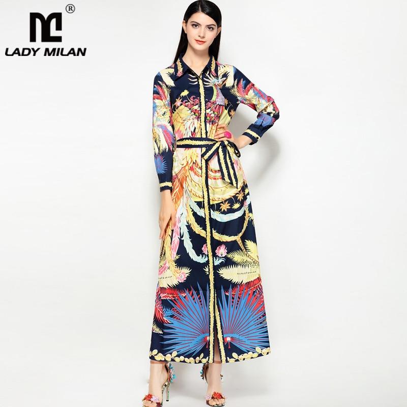 2018 Womens Turn Down Collar Long Sleeves Printed Sash Belt Fashion Casual Long Designer Runway Dresses