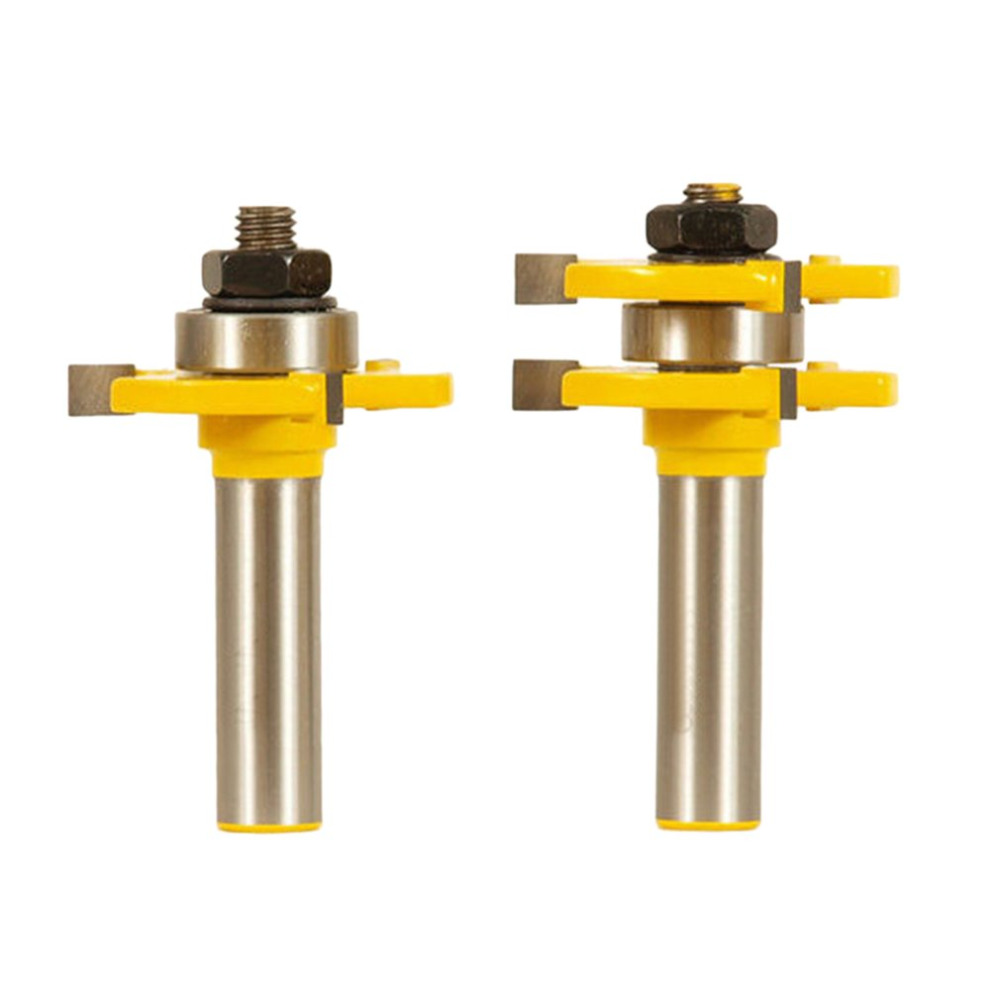 2pcs/set Alloy Matched Tongue Groove Router Bit Woodworking Tool Set Milling cutter high grade carbide alloy 1 2 shank 2 1 4 dia bottom cleaning router bit woodworking milling cutter for mdf wood 55mm mayitr