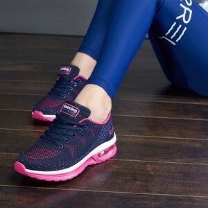 Image 3 - זהב שתיל ריצה באיכות גבוהה נעלי נשים לנשימה אוויר רשת לסרוג כרית נשים סניקרס קיץ חדש מאמן ספורט נעליים