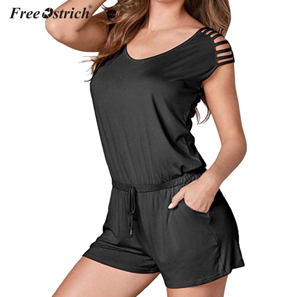 Free Ostrich Summer Women Playsuit Shorts Off Shoulder Short Sleeve Rompers Ladies Sexy Tie Waist Casual   Jumpsuit   N30