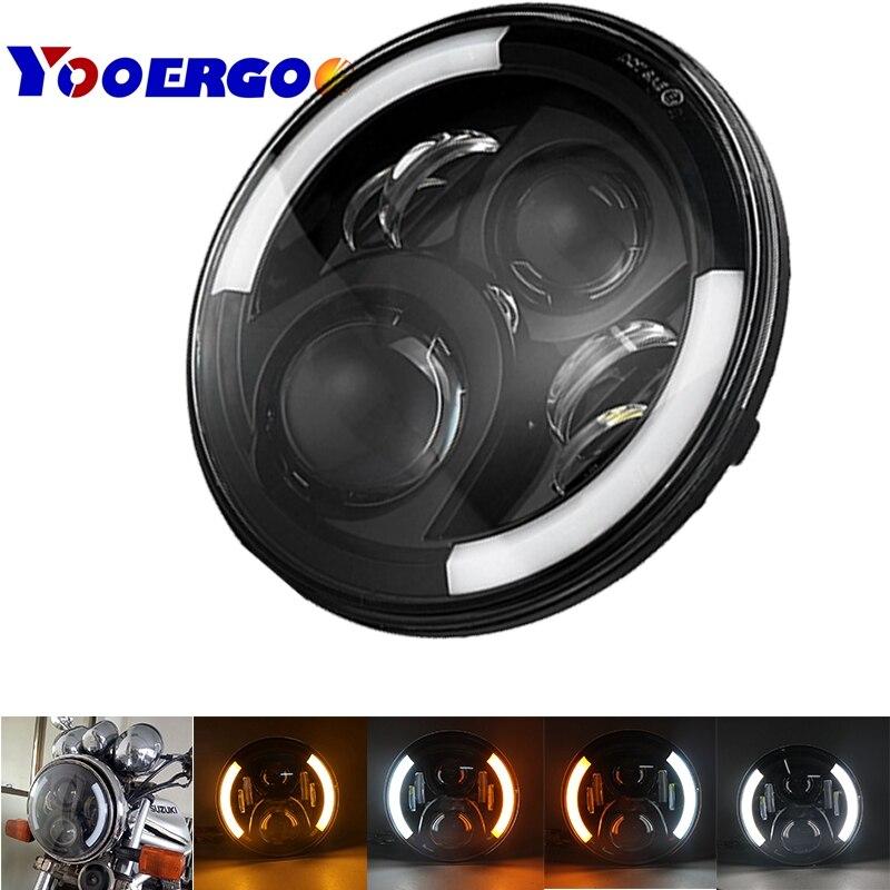YOOERGOO 7 Inch 60W Hi/Lo Beam Headlight With Turn Signal DRL White Amber For Harley Motorcycle 2006-2013 Street Glide FLHX