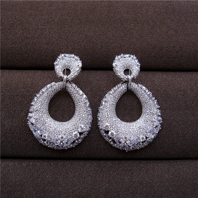 Women earrings Luxury new design AAA cubic zirconia clear crystal big bold fancy drop earrings,E1195C mask design drop earrings