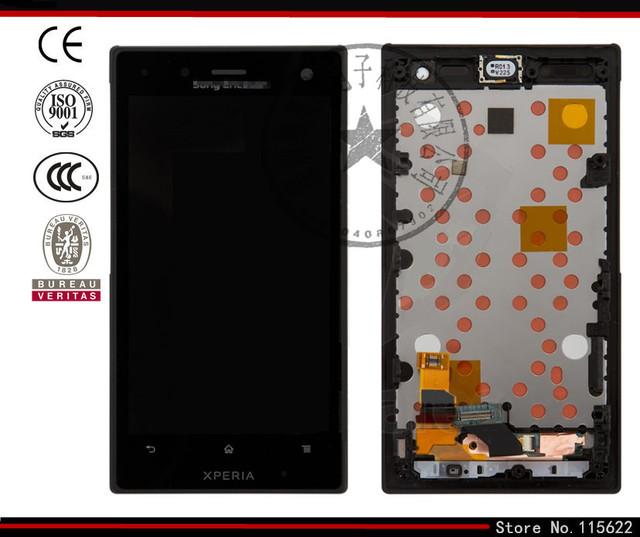 Tela lcd para sony lt26w xperia acro s telefone celular, (preto, com tela sensível ao toque, com painel frontal, com Logotipo)