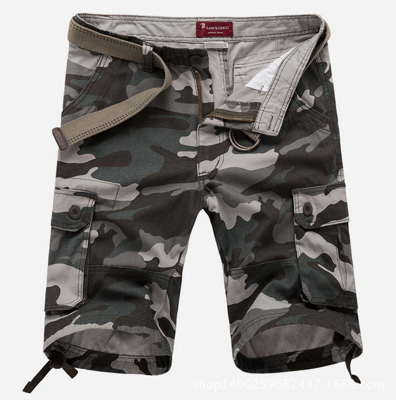 Summer 2017 Outdoor Mens Sport Cotton Shorts Beach Camouflage Army Hiking Cargo Baggy wild Short Trousers Plus Size 30-44