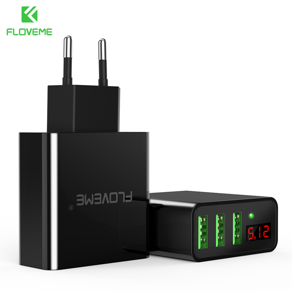 FLOVEME USB Charger 3 Ports Digital Wall Charger Portable Travel Adapter Mobile Phone Chargers For iPhone Samsung Xiaomi OnePlus