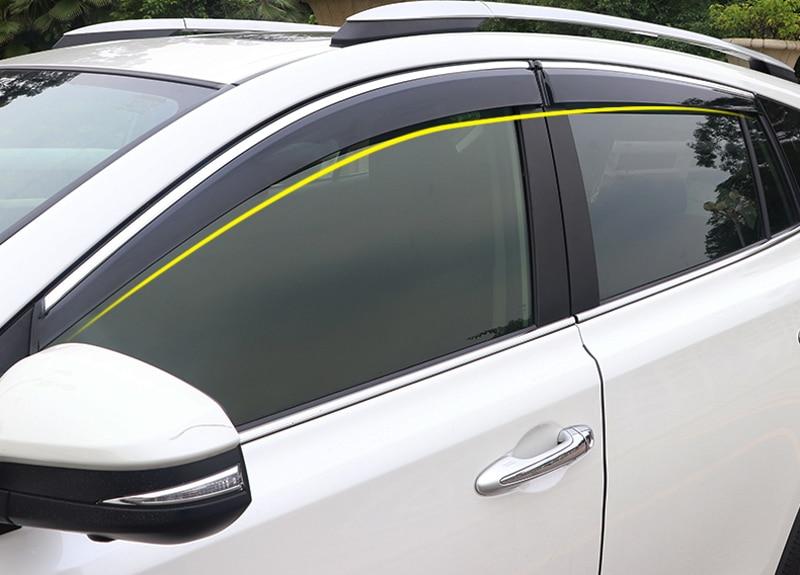 Pour Toyota RAV4 XA40 2013-2018 voiture porte fenêtre pare-Vent auvents bouclier pluie soleil Vent garde Vent ombre couverture 4 pièces