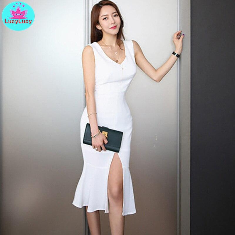 bf33e89ff0ef 2019 verano nuevo mujeres Corea Dongdaemun de las mujeres de cuello en V  sin mangas Slim lado sexy ...