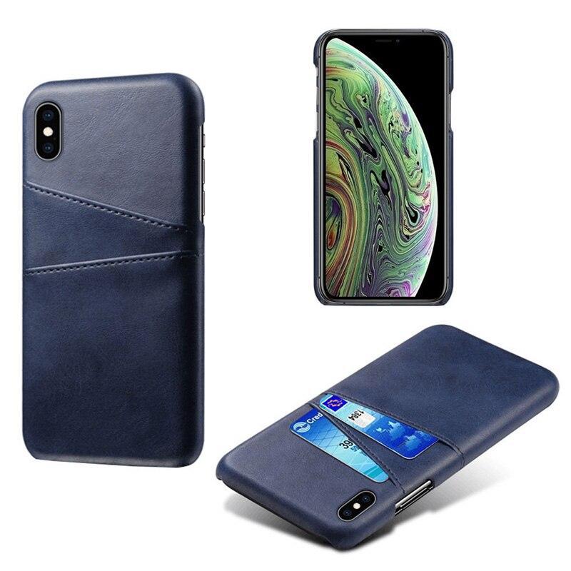 Роскошный держатель для карт чехол для iphone 5, 5S, 6, 6 S, 7, 8 Plus, 5se, кожаный чехол-кошелек для iphone X, XR, XS, Max, 11 Pro, Max, чехол для телефона - Цвет: Sapphire