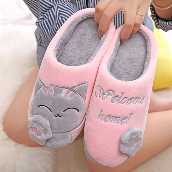 Cat Animal Prints Cute Home Slippers Short Plush Warm Soft Cotton Women Slippers Loves Floor Indoor Shoes Women Large Size 45 3