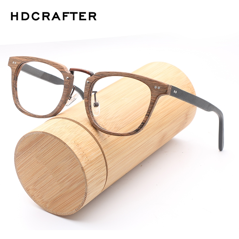 HDCRAFTER Prescription Eyeglasses Frames Wood Grain Optical Glasses Frame with Clear Lens Men Women Wooden Glasses Frames