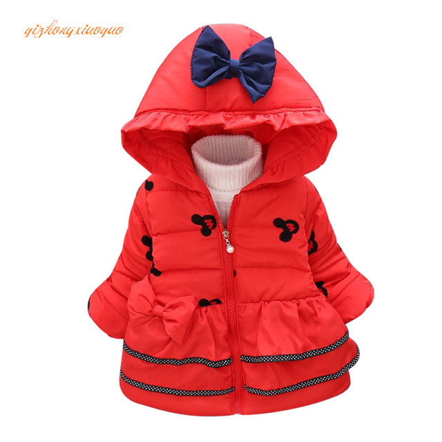 9d0dba59a35b Hot Sale 2017 Winter Baby Girls Coats Kids Minnie Jackets Fashion Hooded  Children Outdoor Parka Warm Flowers Cotton-padded Coats