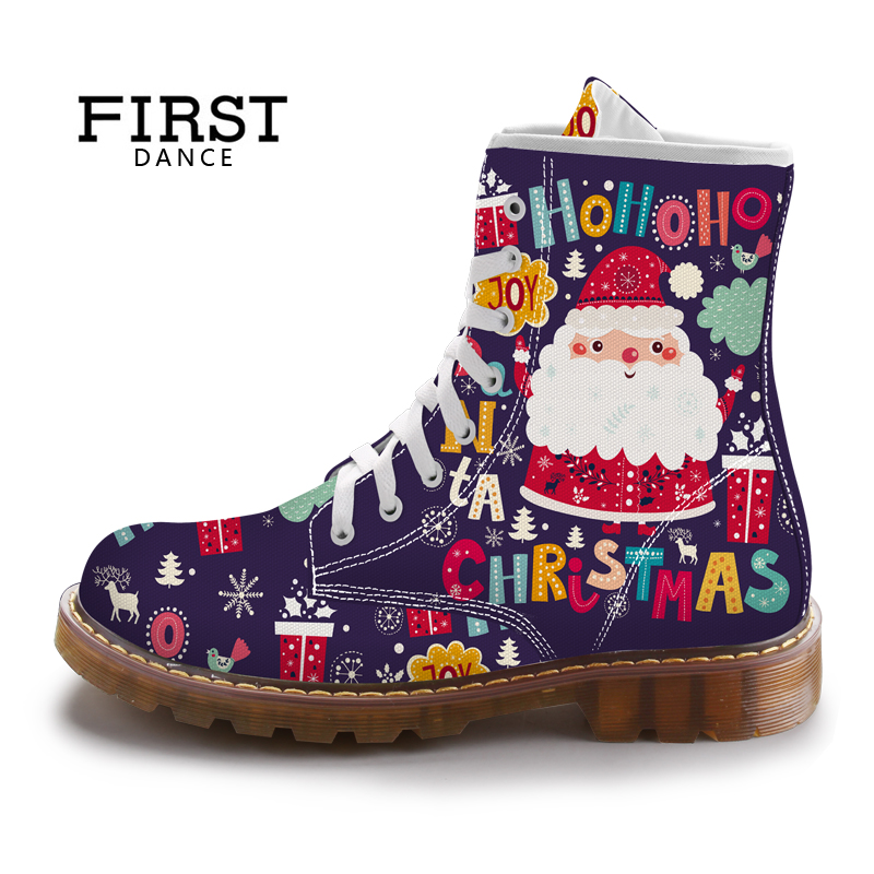 FIRST DANCE Christmas Cute Santa Claus Women Dr Martins Boots Purple Printed Ladies Shoes Spring Custom Female Mid-Calf Boots
