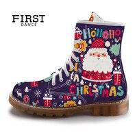 FIRST DANCE Christmas Cute Santa Claus Women Martins Boots Purple Printed Ladies Shoes Spring Custom Female Mid Calf Boots
