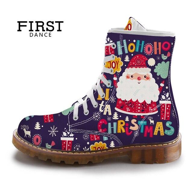 ĐẦU TIÊN KHIÊU VŨ Giáng Sinh Dễ Thương Santa Claus Phụ Nữ Martins Giày Màu Tím In Giày Nữ Mùa Xuân Tùy Chỉnh Nữ Mid-Bê Khởi Động