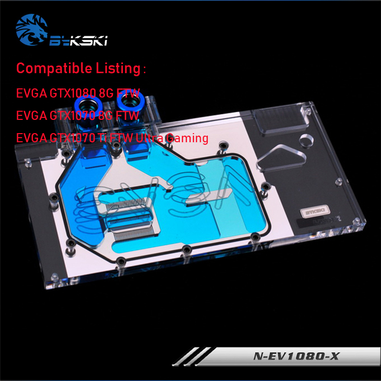 N-EV1080-X Bykski GPU water cooler compatible for EVGA GTX1080/1070 8G FTW /EVGA GTX1070 Ti FTW Ultra Gaming cooling block ftw f7