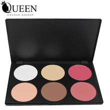 QUEEN Brand 6 Colors Brand Makeup Blush Palette in Matte Face Blusher Powder Palette makeup AB06