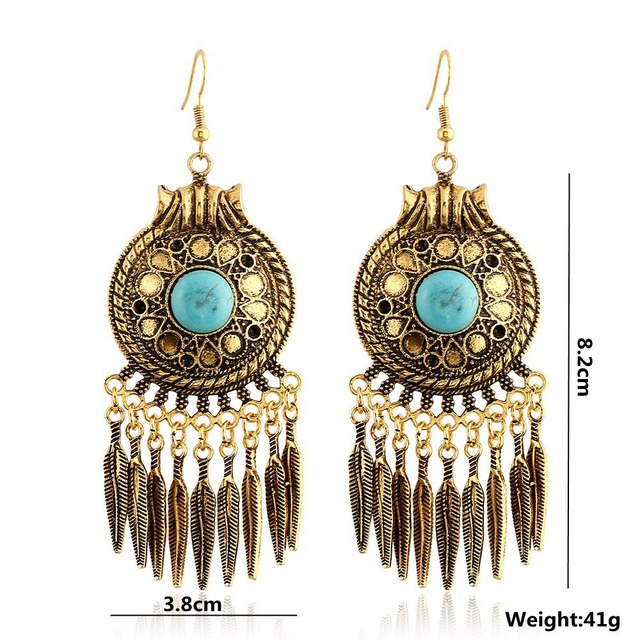 52d822cca New Arrival Elegant Bohemian vintage Earrings Indian Style Tibetan Turquoise  Drop Earring for Women