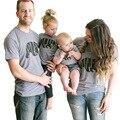 2017 de verão da família roupas combinando papai mamãe bebê carta animal print algodão t-shirt da família moda olhar clothing