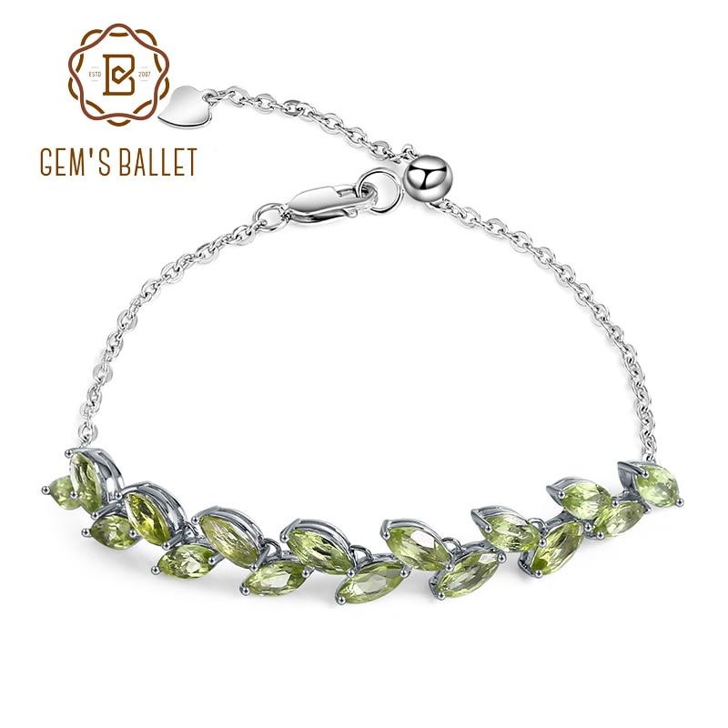 GEM S BALLET 4 37Ct Marquise Natural Peridot Gemstone Bracelet 925 Sterling Silver Adjustable Bracelet For