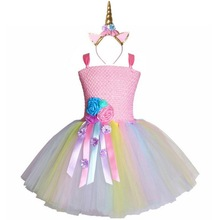 Girls Flowers Tutu dress With Gold Unicorn Headband For Kids Fancy Party Dress Children Costumes Pink 2-10 Years 2019
