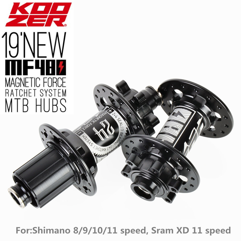 KOOZER New MF480 Front Rear Hub Set 2/4 Bearings 24T Ratchet 32 Holes Quick Release Thru Axle Mountain Bike Hubs For Shimano XD