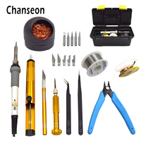 Chanson EU Plug 220V 60W Adjustable Temperature Electric Soldering Iron Kit Welding Tip Cleaner Clutter Repair