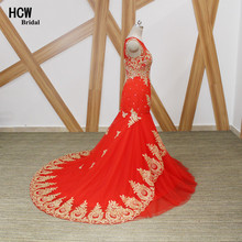 Mermaid Red Evening Dress With Gold Lace Crystals Beaded Tulle Long Evening Dresses 2018 Real Photos Women Wedding Party Gowns