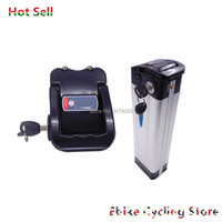 Frete grátis 24v 10ah íon de lítio prata peixe e bicicleta bateria inferior descarga porta para 250w 350w 500w bateria ebike Bateria de bicicleta elétrica     -
