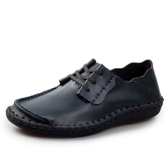 2017 Новый мужская ручной работы Из Натуральной Кожи Лианы Мокасины обувь мужчины Шнуровке оксфорд квартиры мужской комфортно huarache лодки обувь