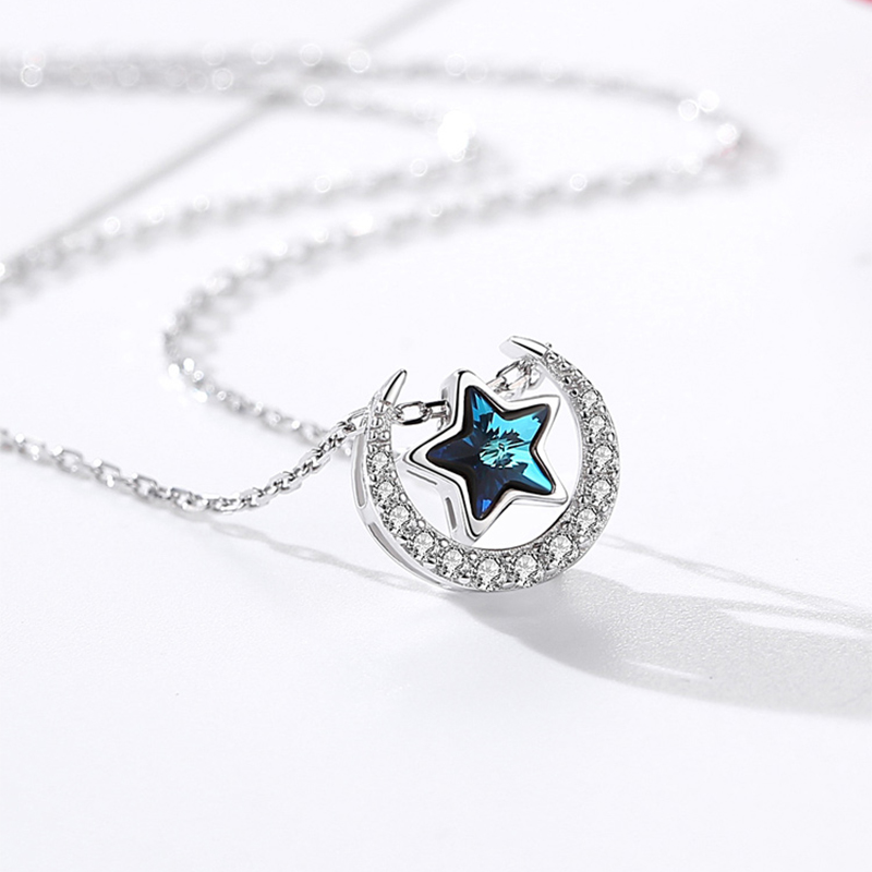 Blue Crystal 925 Sterling Silver Choker Custom Necklace Women Moon Star Pendant Girls Minimalist Snake Chain Christmas Gifts NEW