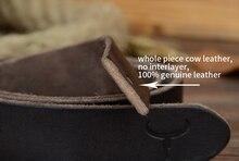 Men Black Buckle Vintage Cowhide Genuine Leather Belt