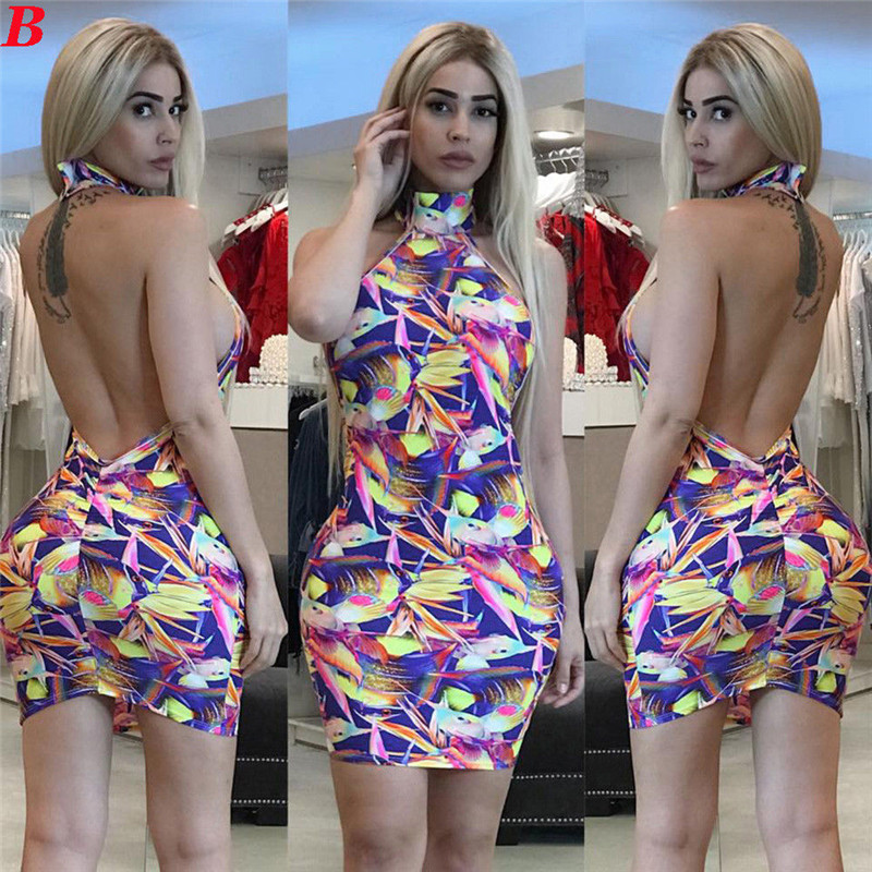 Sexy Ladies Rainbow Color Mini Dress Halter Style Backless Sexy Dress  Bandage Package Hip Dress Evening Party Summer Dress-in Dresses from Women s  Clothing ... c634a2904
