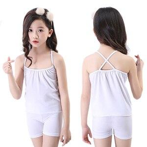 Image 2 - Pijamas infantis para meninas pijamas algodão verão pijamas crianças colete shorts 2 pçs terno 3 4 5 6 7 8 9 10 11 12 anos menina