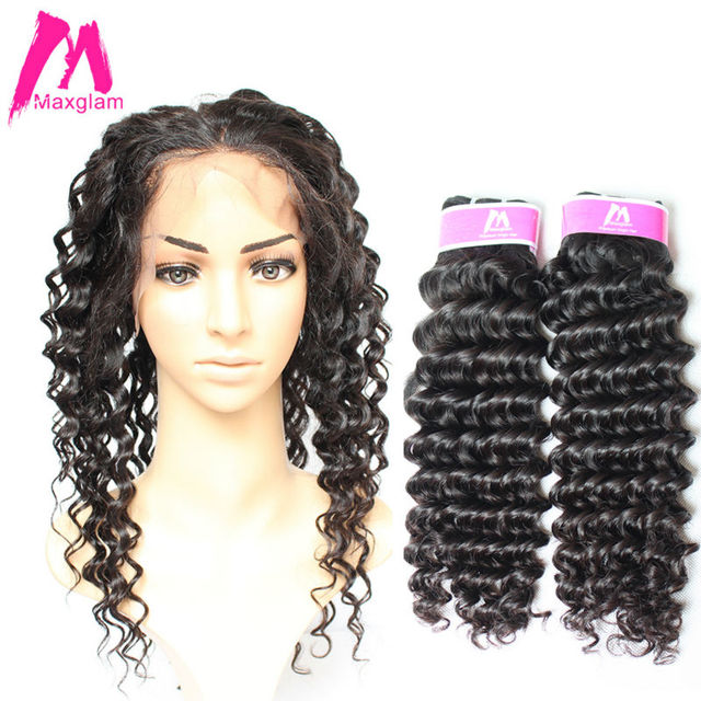 7a Mink Maxglam Deep Curly Brazilian Virgin Hair 360 Lace Frontal With Bundle 2pcs