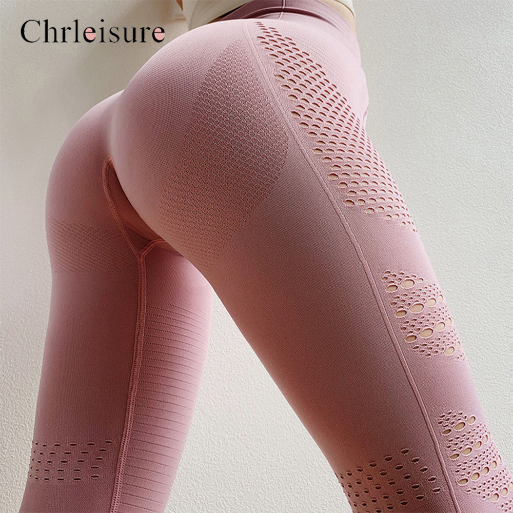 Fashion High Waist Fitness Legging For Women Seamless Legging Sporting Women Gym PantsTights Push Up Eyelet Knit Workout Leggins