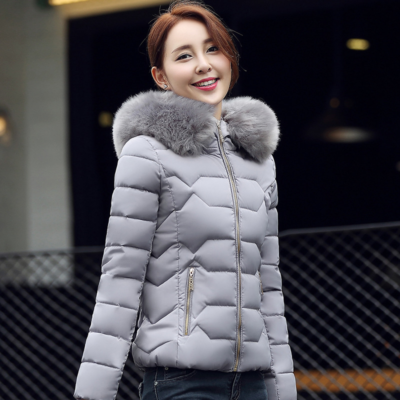 Women Cotton Thick Bread Jacket Short Style White Pink Blue Black Grey Soft Warm Slim Version Trend Coat Winter