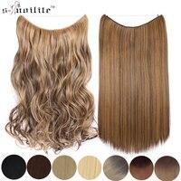 SNOILITE 20 дюймов Длинные Синтетические волосы термостойкие накладные волосы рыбий линии прямые волосы для наращивания секретные заколки-неви...