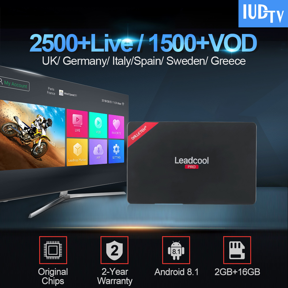 Leadcool Pro TV Box RK3229 With 1 Year IUDTV Iptv Subscription Android 8.1 2GB 16GB France UK Germany Spain Italy Sweden IPTVLeadcool Pro TV Box RK3229 With 1 Year IUDTV Iptv Subscription Android 8.1 2GB 16GB France UK Germany Spain Italy Sweden IPTV