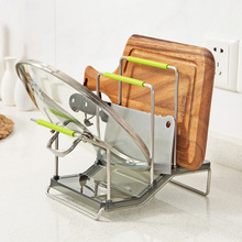 New Arrival Stainless Steel Pot Lid Shelf Cooking Storage Pan Cover Lid Rack Stand Spoon Holder