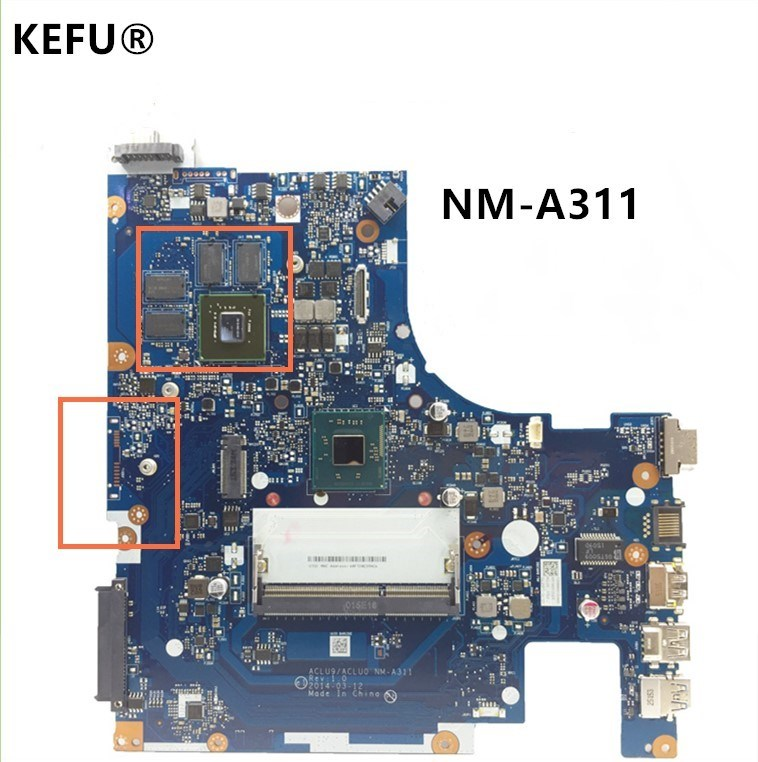 KEFU Original System Board For Lenovo G50-30 Laptop Motherboard ACLU9 / ACLU0 NM-A311 With Processor 100% WORKING