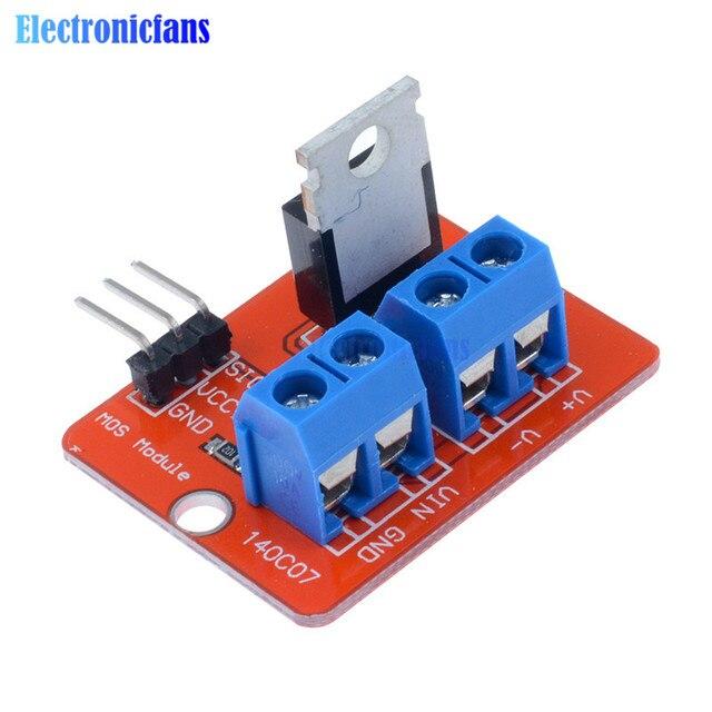 2 unids Top Mosfet botón IRF520 Mosfet módulo de controlador para Arduino MCU ARM para Raspberry Pi 3,3 V-5 v MOS de potencia PWM LED caliente