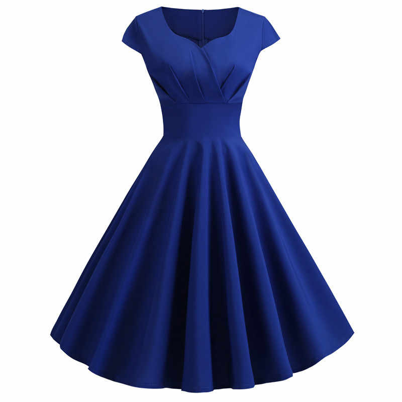 Vestido de verão feminino 2019 cor sólida retro vintage 50s 60s casual festa escritório robe rockabilly vestidos plus size